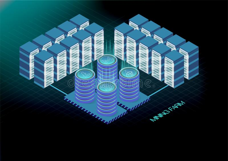 Isometric banner with bitcoin mining farm, cryptocurrency mining concept, financial isometric 3d vector. Ethereum Blockchain isome. Tric, server room rack royalty free illustration