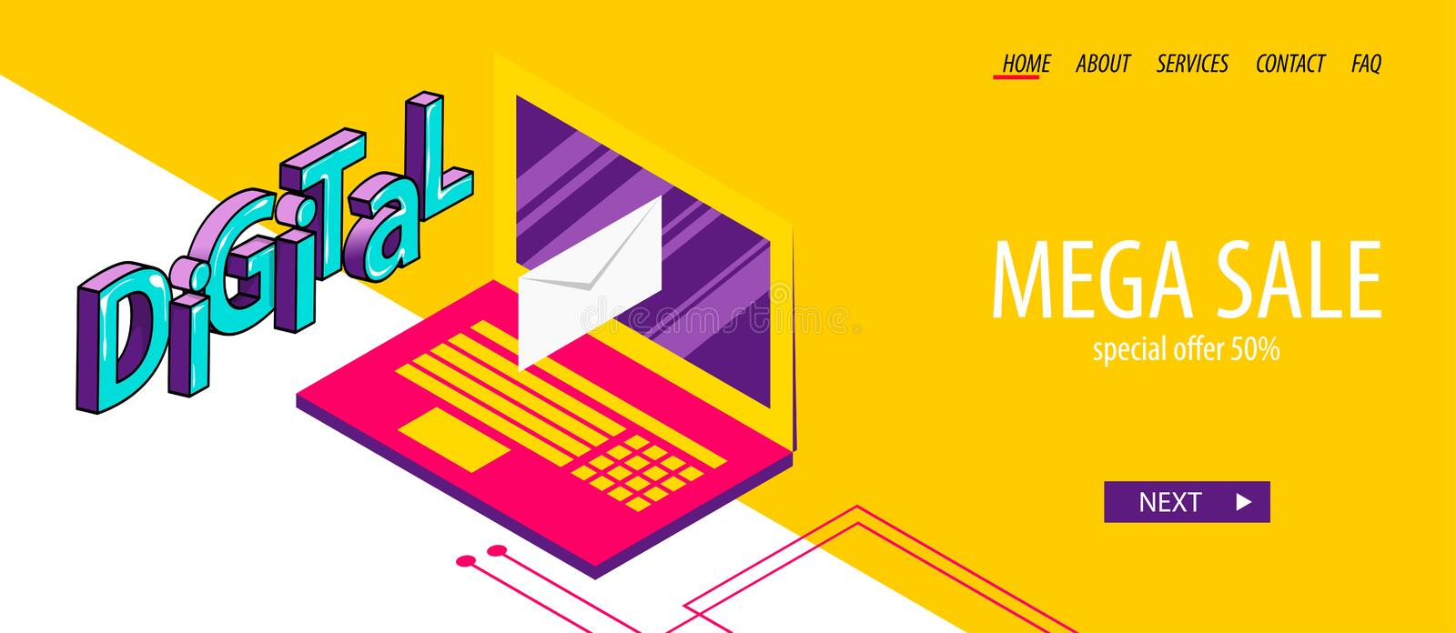 Isometric banner business flat site background. Open laptop screen send mail. Isometric digital banner business flat site background. Header vector design. 3d royalty free illustration