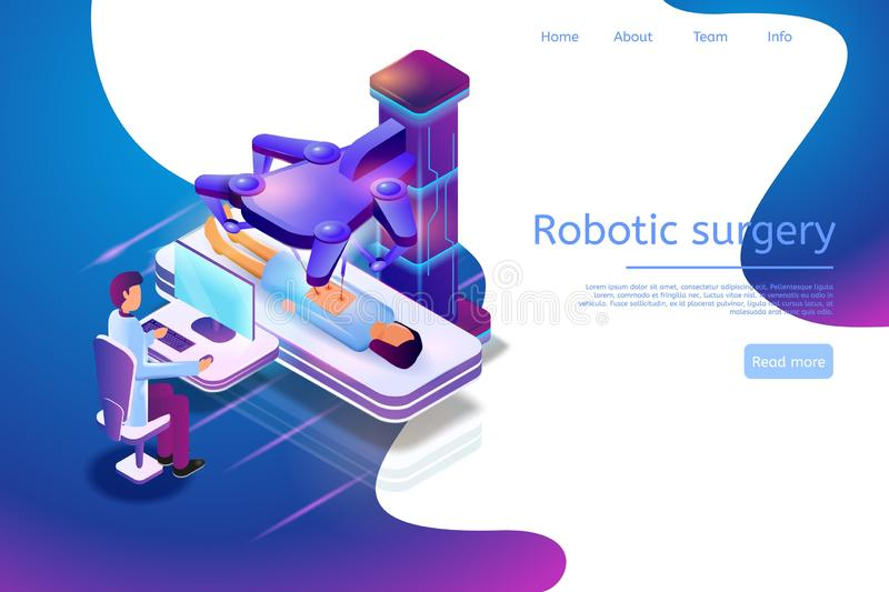Isometric Banner Illustration Robotic Surgery 3d. Vector Image Medical Process Patient Surgical Operation Using Technologies Future. Male Doctor Controls stock illustration