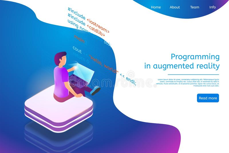 Isometric Banner Programming in Augmented Reality vector illustration