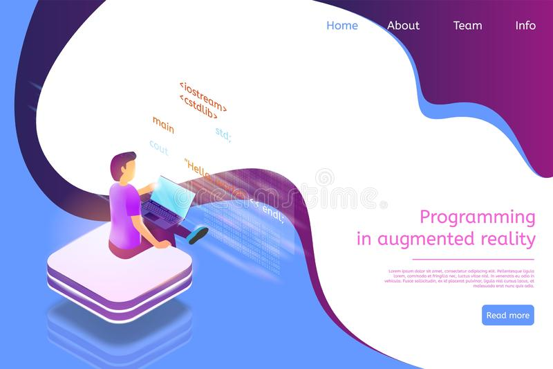 Isometric Banner Programming in Augmented Reality. Vector Illustration Guy is Writing Software Code Using Laptop. Digital Technologies Future Business Process stock illustration