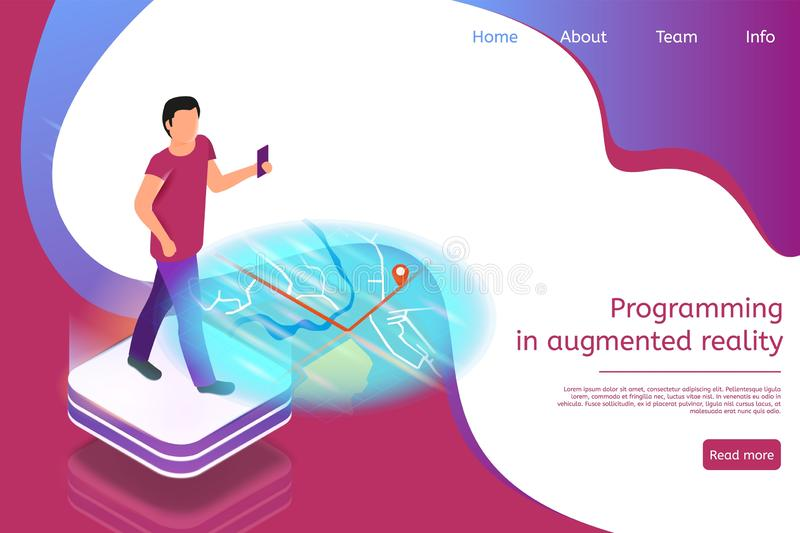 Isometric Banner Programming in Augmented Reality stock illustration