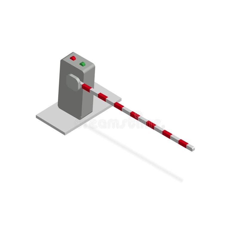 Isometric bariera Crossbar dla zamykać przy równymi skrzyżowaniami otwierać sposób i parkować i royalty ilustracja