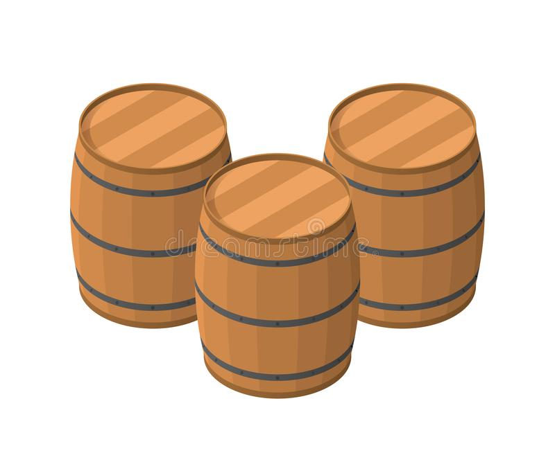 Isometric Barrels isolated on white background. Wooden barrel for alcohol vector illustration. Three barrels with iron rims, concept, raw materials for shop vector illustration