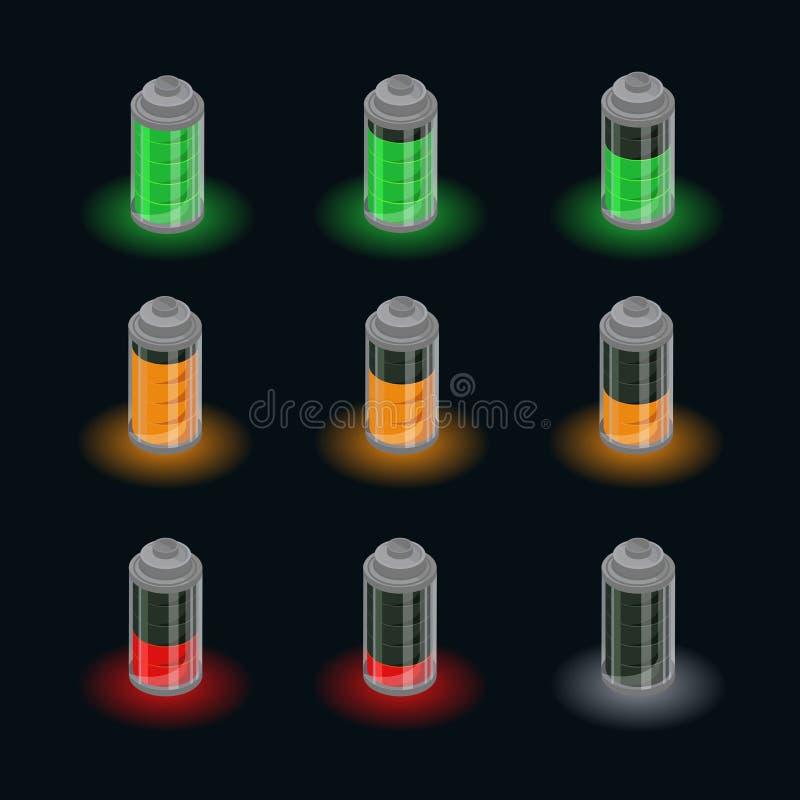 Isometric Bateryjny ładunku statusu set ilustracji