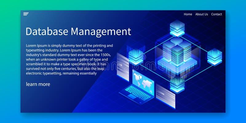 Isometric baza danych zarządzanie, Kieruje ewidencyjnego systemMIS pojęcie, sieć szablon, wektorowa ilustracja ilustracja wektor