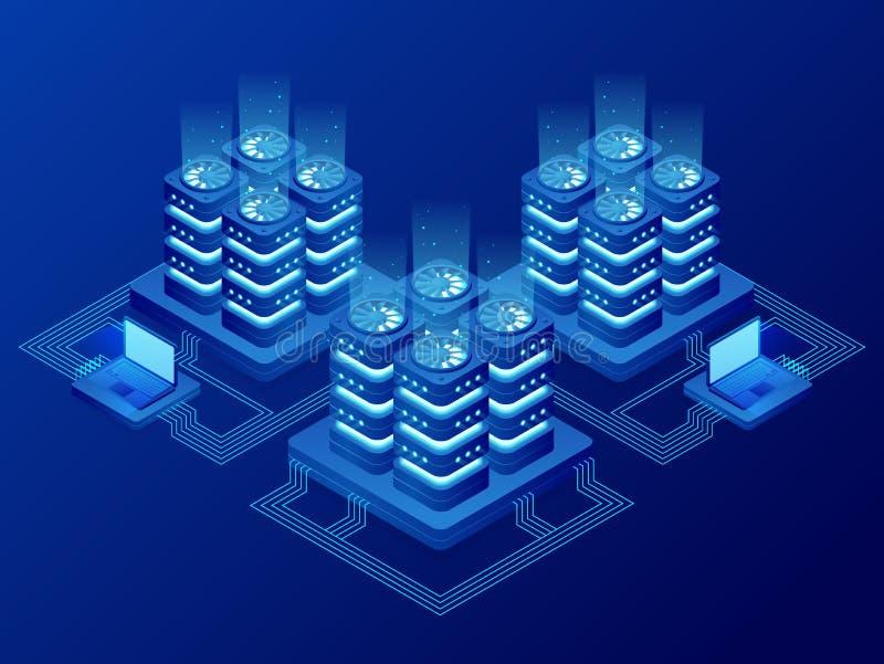 Isometric bazy danych zarządzanie siecią Duzi dane - przetwarzający, energii stacja przyszłość IT technika kręcenia serwer ilustracja wektor