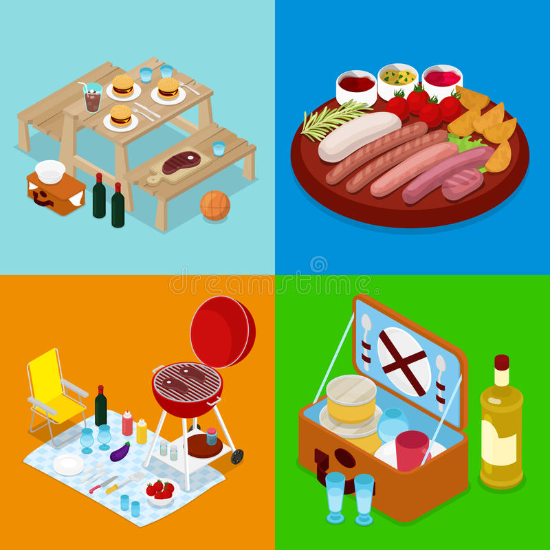 Isometric BBQ Picnic Food. Summer Holiday Camp. Grilled Meat, Wine and Vegetables vector illustration