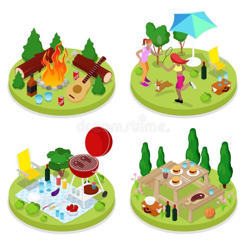 Isometric BBQ pinkinu przyjęcie Wakacje letni obóz Ludzie w parku z Piec na grillu mięsem ilustracja wektor