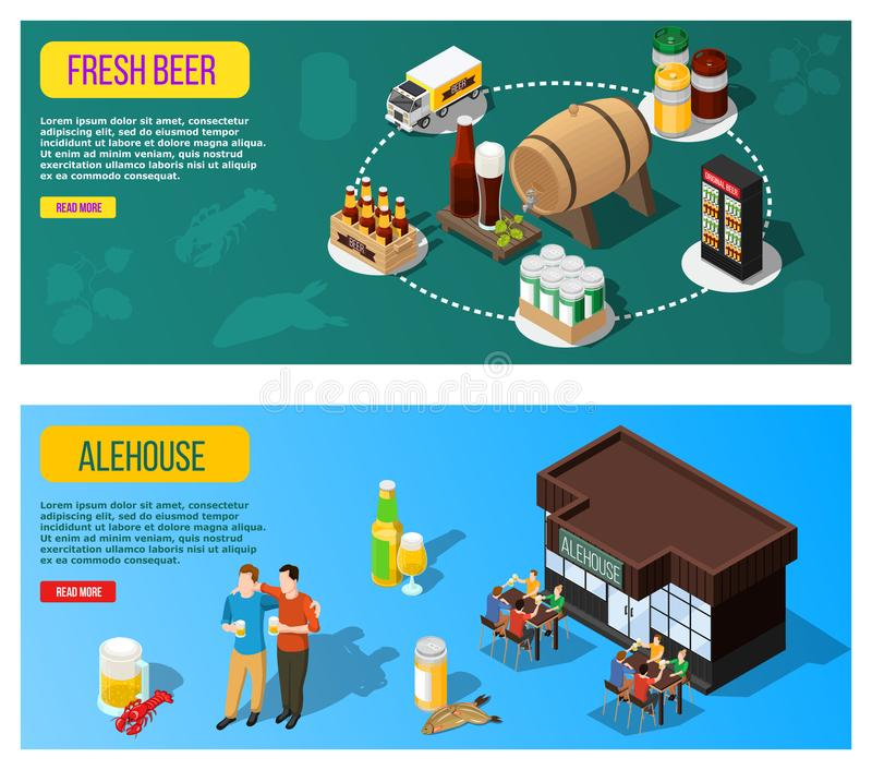 Isometric Beer Banners vector illustration