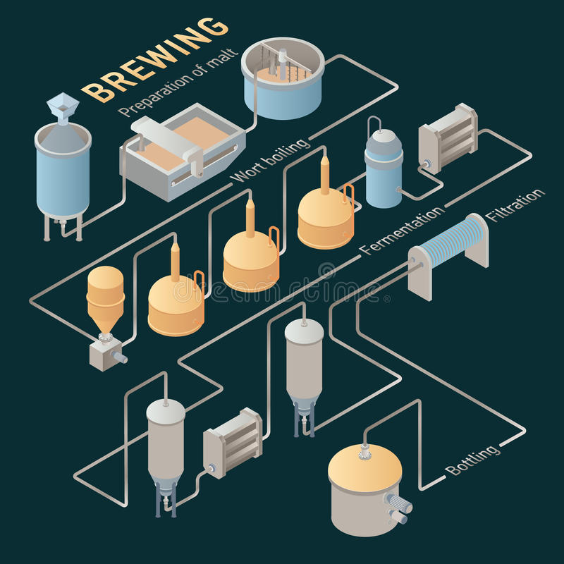 Isometric beer brewing process. Vector infographic stock illustration