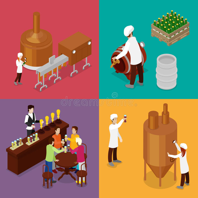 Isometric Beer Production. Brewery Indoors with Workers, Drinking Elements and Pub vector illustration