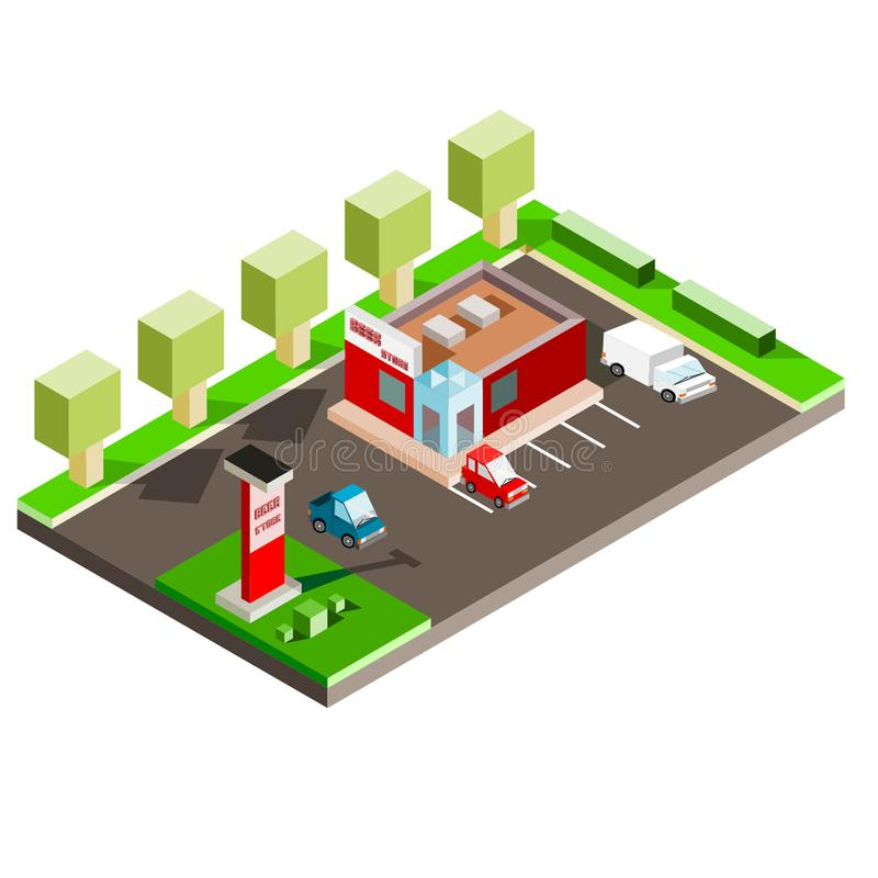 Isometric Beer Store with parking lot and vehicles royalty free illustration
