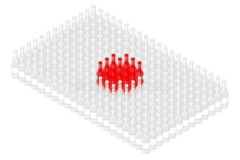 Isometric beverage beer glass bottle in row, Japan national flag shape concept design illustration stock illustration