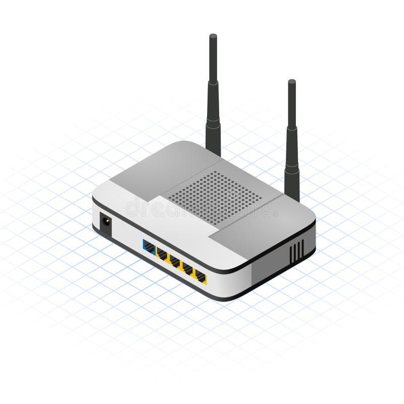Isometric Bezprzewodowa routera wektoru ilustracja royalty ilustracja