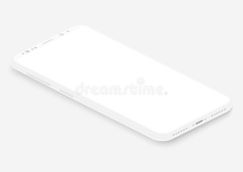 Isometric biały wektorowy smartphone 3d parawanowego telefonu realistyczny pusty szablon dla wkładać jakaś UI interfejs, test lub royalty ilustracja