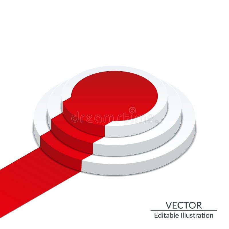Isometric Biały round podium z czerwonym chodnikiem Wzór na przejrzystym tle Editable isometric wektorowa ilustracja ilustracja wektor