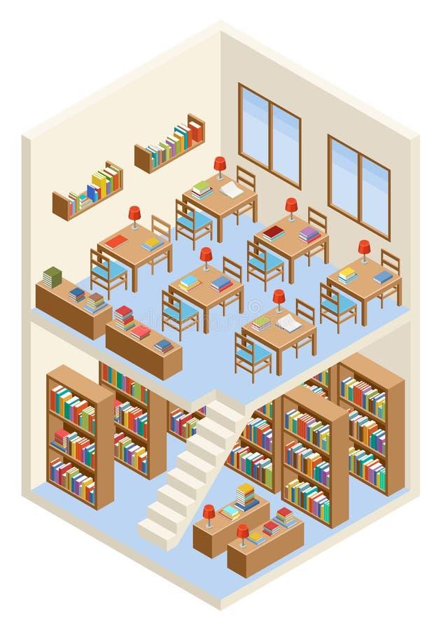 Isometric biblioteka i czytelniczy pokój royalty ilustracja
