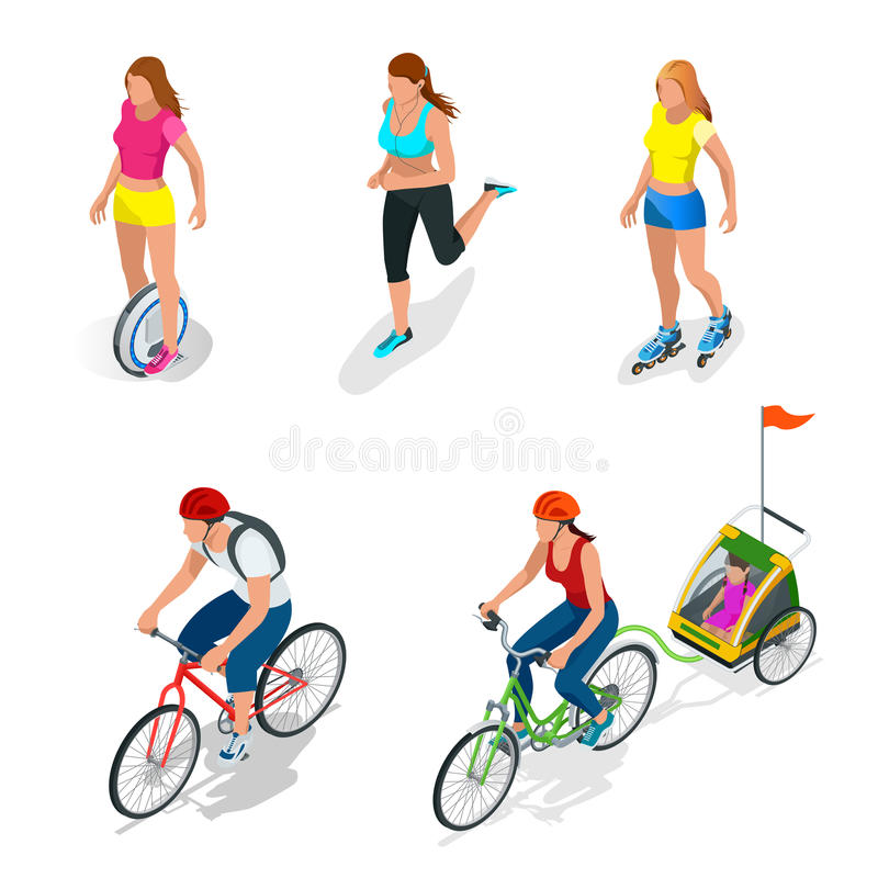 Isometric Bicycle. Family Cyclists. Roller Skating girl. royalty free illustration