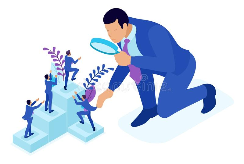 Isometric Big Boss Chooses Small People. Isometric Bright concept competitive struggle for career growth, businessman looks at candidates through a magnifying stock illustration