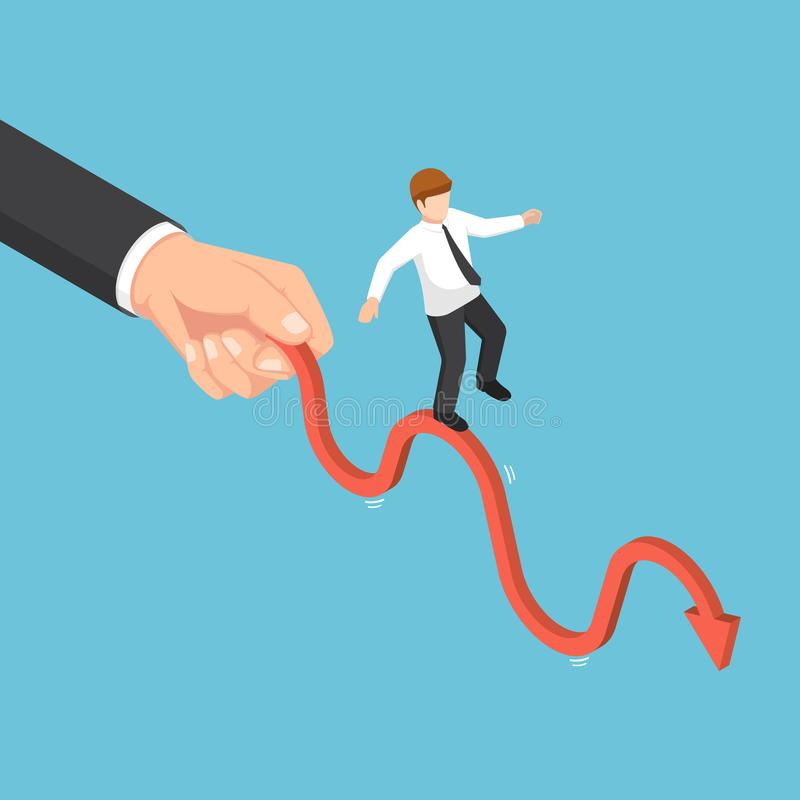Isometric big businessman hand shaking business graph vector illustration