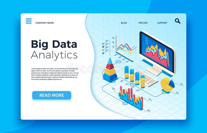 Isometric big data analytics. Analytical infographic statistic dashboard. 3d vector illustration stock illustration
