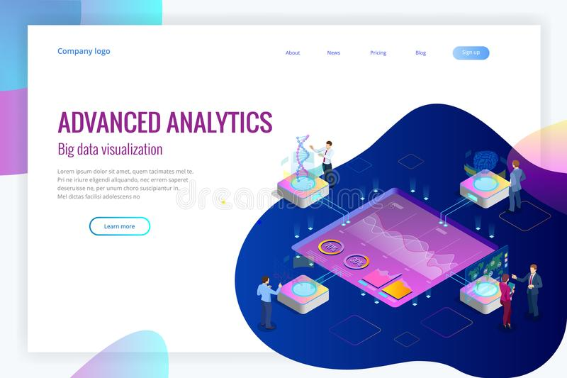 Isometric Big Data Network visualization, advanced analytics, interacting Data analysis, research, audit, demographics royalty free illustration