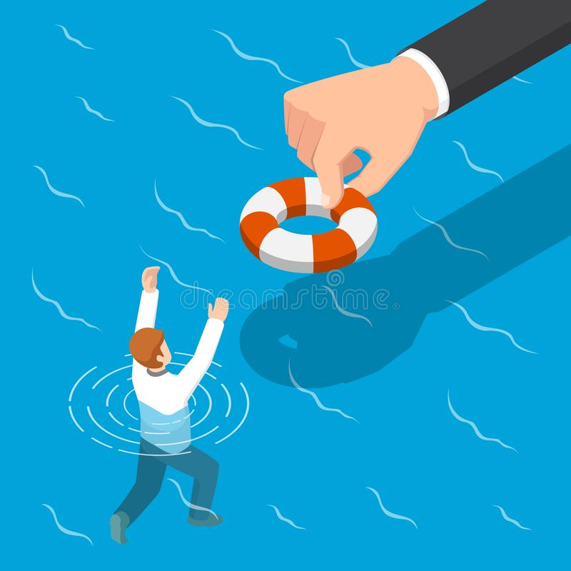 Isometric big hand giving a lifebuoy to help businessman. vector illustration