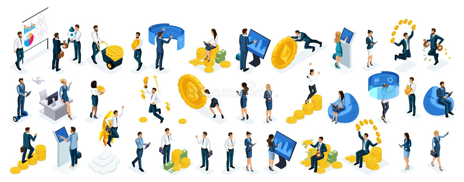 Isometric big set businessmen and business ladies use virtual screens to buy online crypto currency, modern technology royalty free illustration