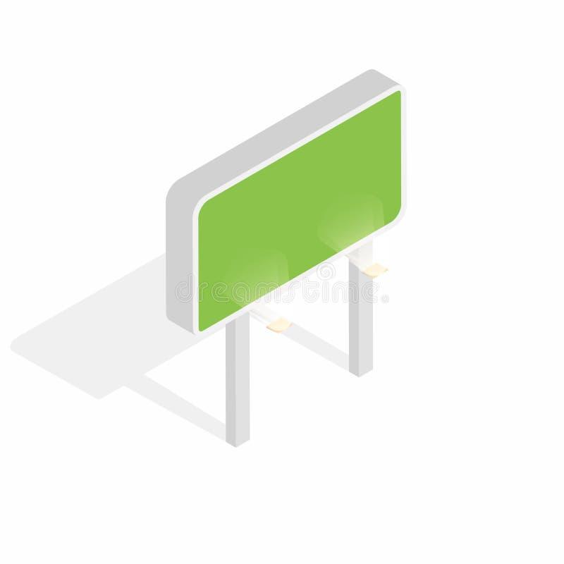 Isometric billboard z światłami odizolowywającymi na białym tle Pusty billboard, reklamowy pojęcie ilustracji