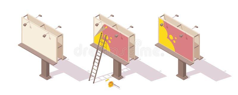 Isometric billboarda wektorowa ilustracja ustawia - pusty miasta bigboard i instalacja reklama royalty ilustracja