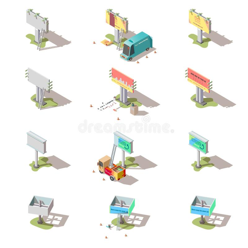 Isometric billboards, advertising street banners stock illustration