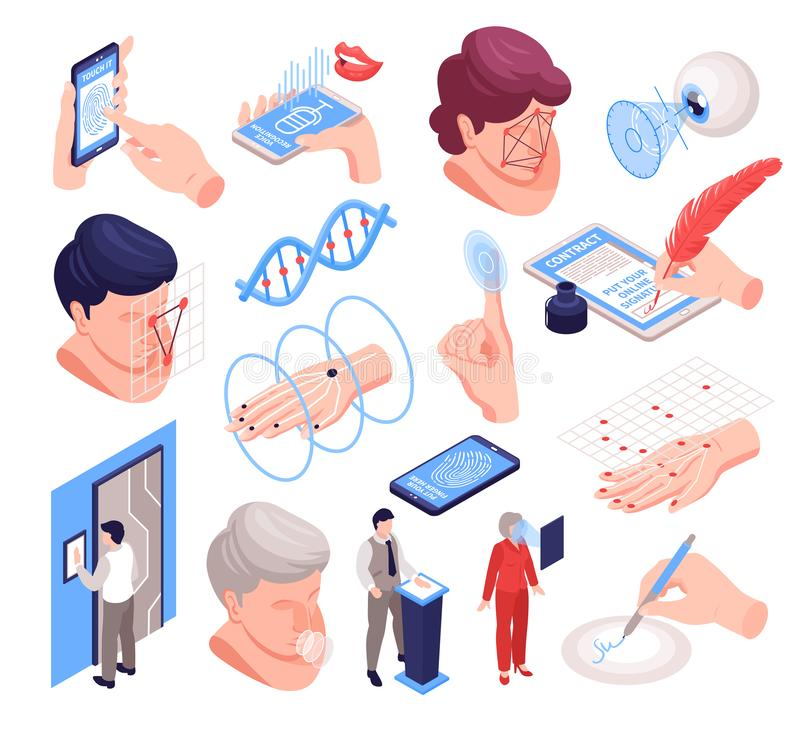 Isometric Biometric Identification Set. With isolated images of human body parts electronic gadgets and technology icons vector illustration stock illustration