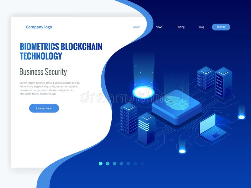 Isometric Biometrics Blockchain Technology and Finger Print Scanning Identification System. Biometric Authorization and. Business Security Concept. Vector stock illustration