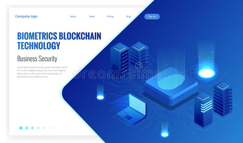 Isometric Biometrics Blockchain Technology and Finger Print Scanning Identification System. Biometric Authorization and. Business Security Concept. Vector royalty free illustration