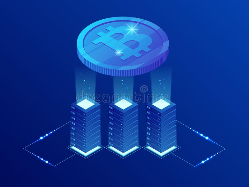 Isometric Bitcoin BIT Cryptocurrency mining farm. Blockchain technology, cryptocurrency and a digital payment network royalty free illustration