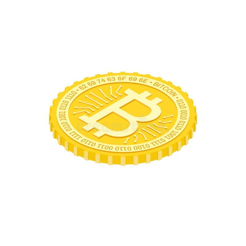 Isometric Bitcoin flat Icon on the white background stock illustration