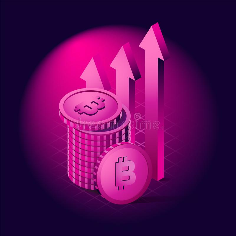Isometric Bitcoin Ultra violet color concept, Vector Illustration. Bright background royalty free illustration