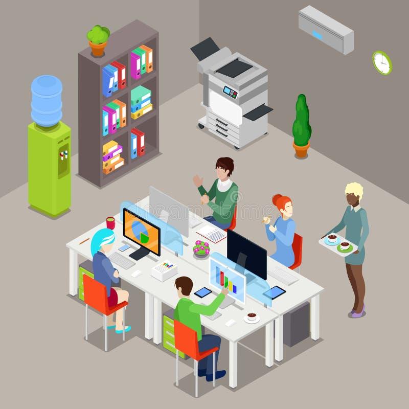 Isometric Biurowa otwarta przestrzeń z pracownikami i komputerami ilustracji
