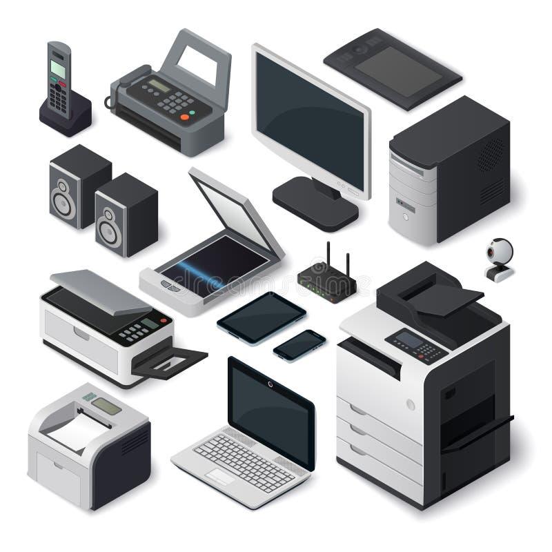 Isometric biurowego wyposażenia wektoru set royalty ilustracja