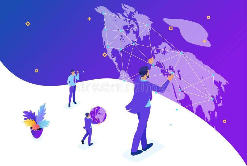 Isometric biznesmen Biega mapa świat ilustracji