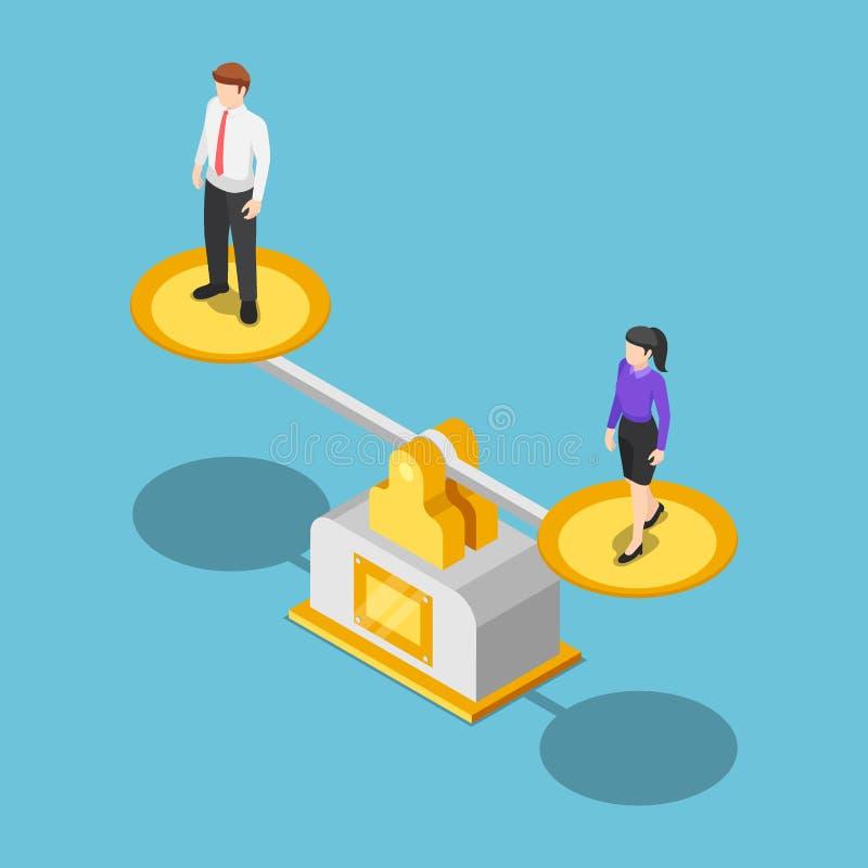 Isometric biznesmen i bizneswoman równi na skali ilustracji