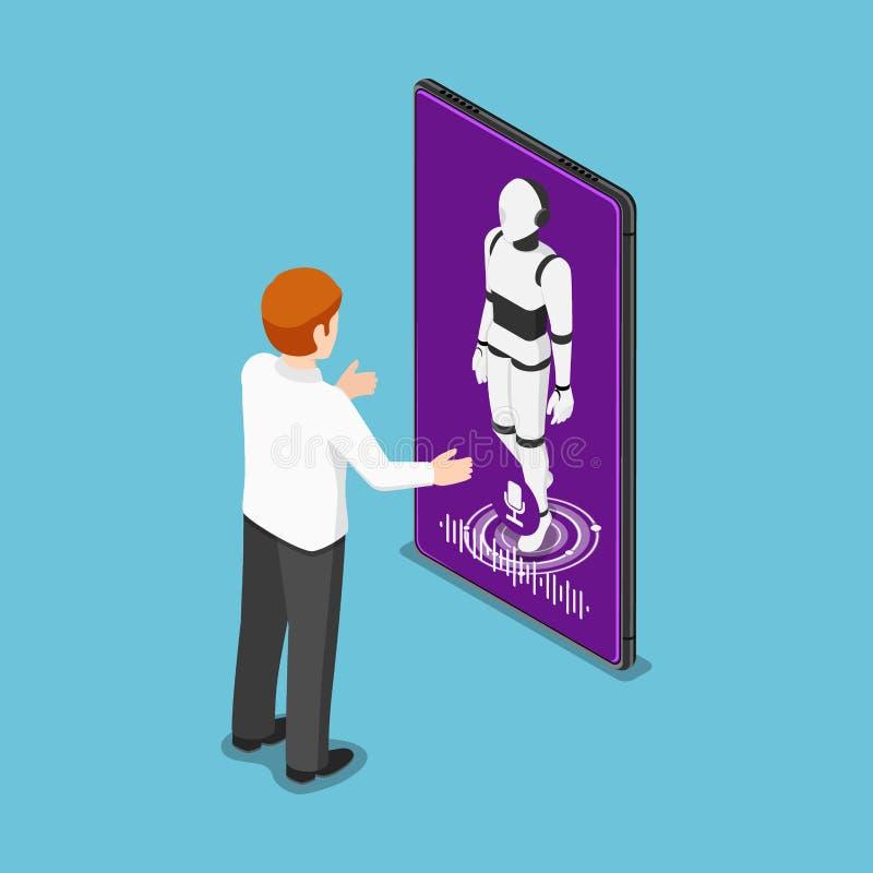 Isometric biznesmen opowiada z ai robotem w smartphone ilustracji