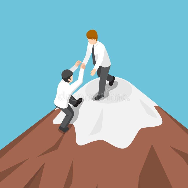 Isometric biznesmen pomoc each inna wspinaczka wierzchołek mounta ilustracja wektor