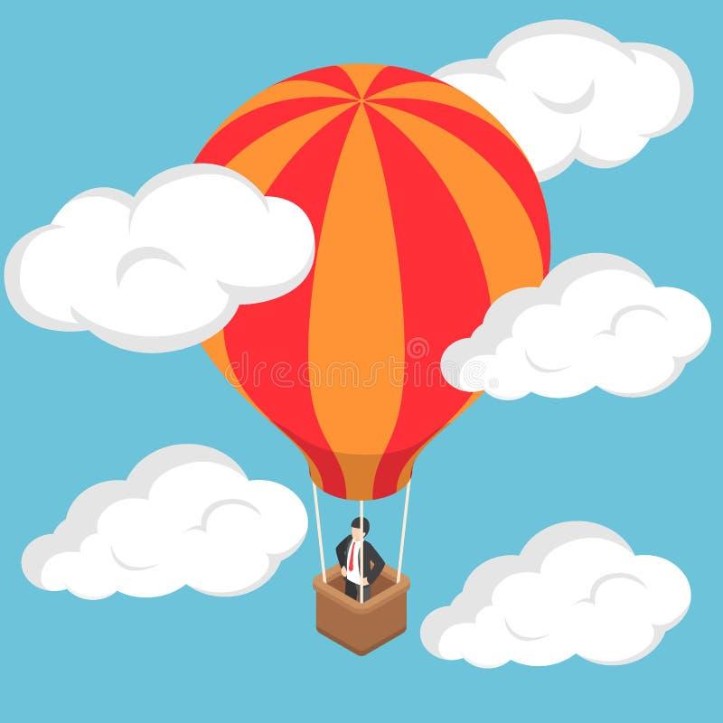 Isometric biznesmen pozycja na gorące powietrze balonie ilustracji