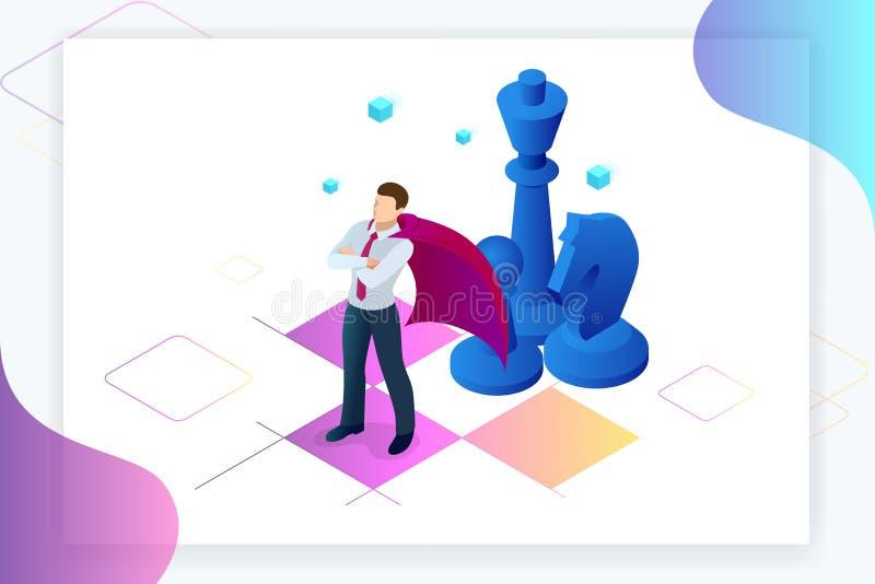 Isometric biznesmen pozycja na szachowej desce Strategia, zarządzanie, przywódctwo pojęcie rozmyta biznesowa ostrość inni czerwon royalty ilustracja