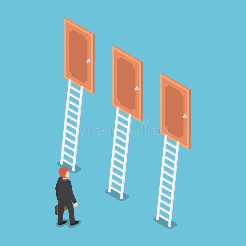 Isometric biznesmen pozycja przed trzy drzwiami royalty ilustracja