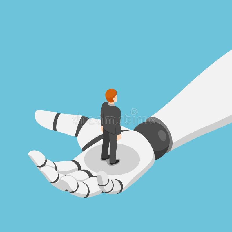 Isometric biznesmen pozycja w ai robota ręce royalty ilustracja