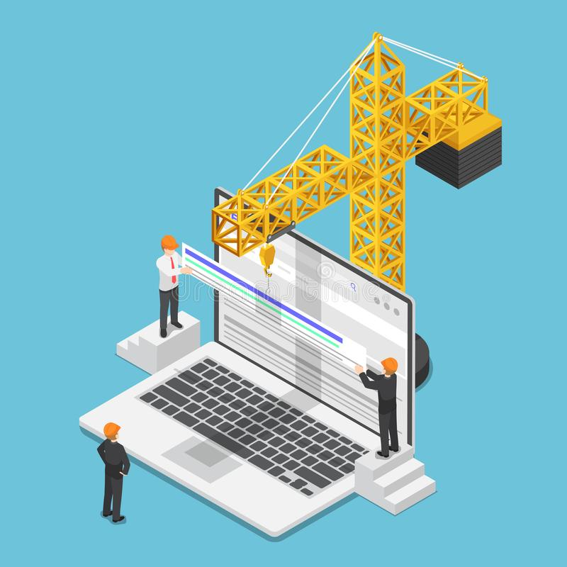 Isometric biznesmen próbuje wzrastać strony internetowej kategorię na rewizi ilustracji