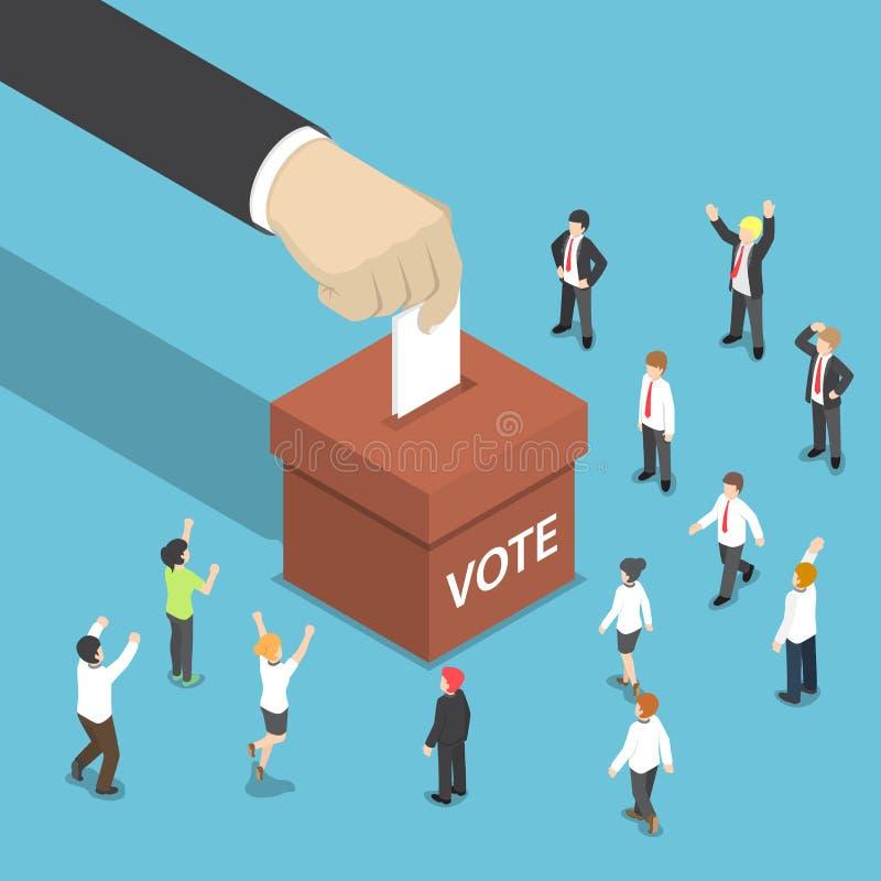 Isometric biznesmen ręka stawiająca głosujący papier w tajnego głosowania pudełku ilustracji